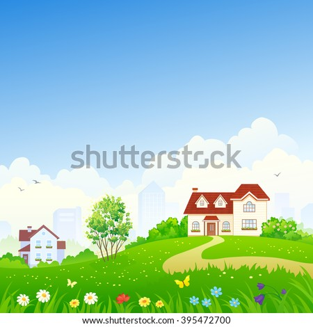 Cartoon house exterior with blue clouded sky Front Home Architecture Concept Flat Design Style. Vect Stock photo © MarySan