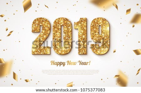 happy new year 2019 illustration with fireworks and 3d typography letter on shiny violet background stock photo © articular