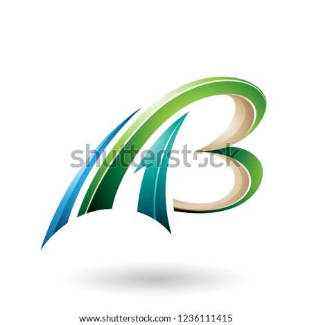 Groene beige vliegen dynamisch 3D brieven Stockfoto © cidepix
