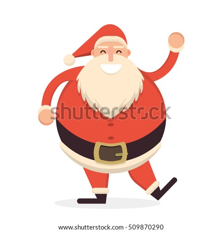Cheerful Santa Claus waving his hand. Christmas character flat i stock photo © IvanDubovik