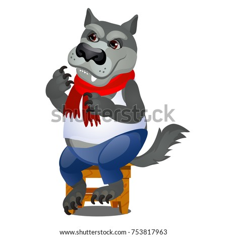 Animated gray wolf sitting on a wooden stool isolated on white background. Vector cartoon close-up i Stock photo © Lady-Luck