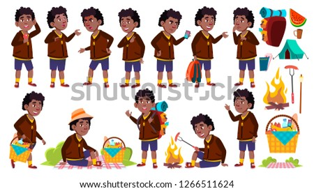 Stock photo: Boy Tourist Schoolboy Vector. Picnic, Summer Rest. Hike. Funny Children. Junior. Black. Afro America