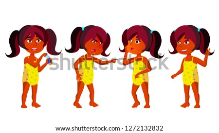 Indian Girl Kindergarten Kid Poses Set Vector. Hindu. Kiddy, Child Expression. Undressed. Summer Vac Stock photo © pikepicture