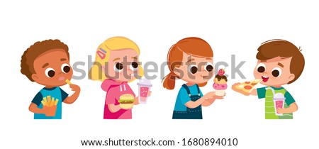 Unhealthy Diet, Boy And Girl Eating Hamburgers, Pizza And Potato Chips Vector. Isolated Cartoon Illu Stock photo © pikepicture