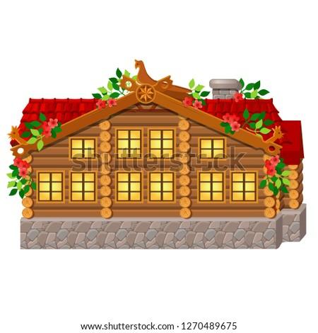 fabelachtig · koninklijk · houten · huis · geïsoleerd · witte - stockfoto © Lady-Luck