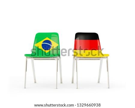Zwei Stühle Fahnen Deutschland Brasilien isoliert Stock foto © MikhailMishchenko