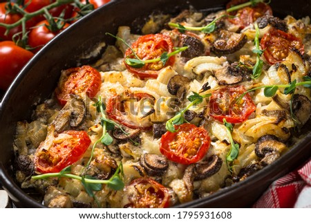gebakken · champignon · kip · kaas · witte · keramische - stockfoto © artsvitlyna
