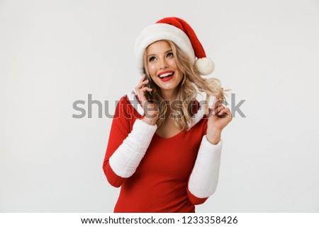 Izgatott fiatal aranyos hó hajadon beszél Stock fotó © deandrobot