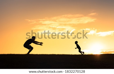little boy and his father enjoying outdoors in field of daisy flowers stock photo © lopolo