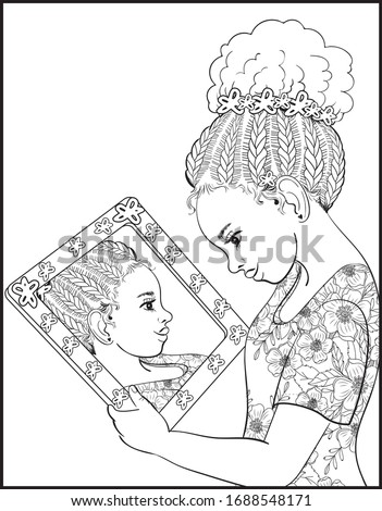 Afro American Woman Braids Dreadlocks Of Afro American Kid Girl Vector. Isolated Illustration Stock photo © pikepicture
