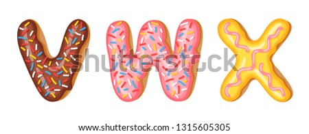 Donut icing upper latters - V, W, X. Font of donuts. Bakery sweet alphabet. Donut alphabet latters A Stock photo © MarySan