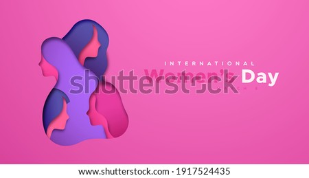 8 March. Womens Day Greeting Card Design with Young Woman Silhouette and Flower. International Femal Stock photo © articular