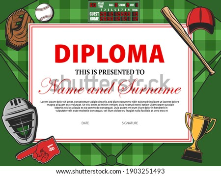 Baseball Game Certificate Diploma With Golden Cup Vector. Sport Graduate Champion. Best Prize. Winne Stock photo © pikepicture