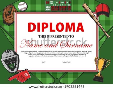 Baseball spel certificaat diploma gouden beker Stockfoto © pikepicture