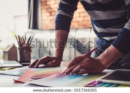 Foto stock: Estilista · editor · trabalhar · desenho · novo · projeto