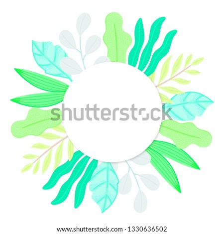 Round frame decorated different leaves in flat style. Plase for taxt. Simple shapes. Herbarium. Natu Stock photo © user_10144511