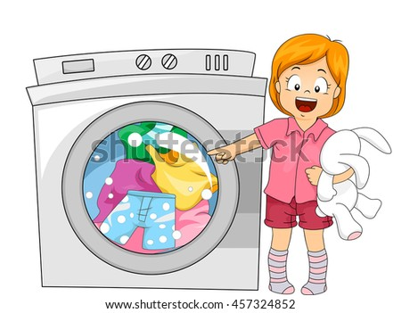 Stock photo: Cartoon washing machine. Vector clip art illustration with simpl