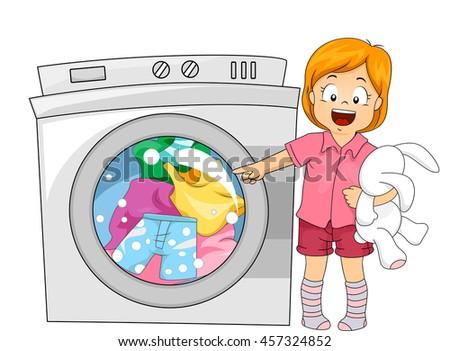 cartoon washing machine vector clip art illustration with simpl stock photo © doomko