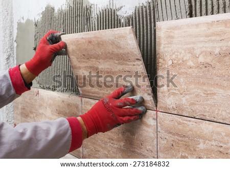 Işçi duvar karo çimento Stok fotoğraf © feverpitch