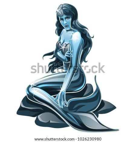 鋼 彫刻 人魚 孤立した 白 ベクトル ストックフォト © Lady-Luck