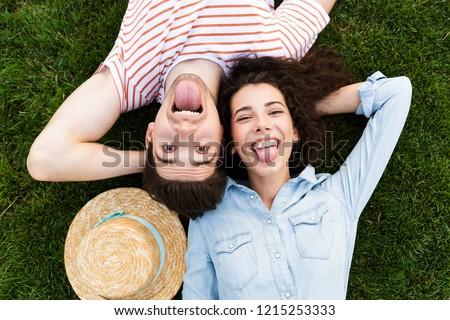 изображение Top забавный пару человека женщину Сток-фото © deandrobot