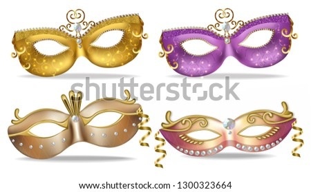 Carnival luxury golden mask Vector realistic. Stylish Masquerade Party. Mardi Gras card invitation.  Stock photo © frimufilms