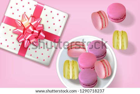 Gift box macaroons realistic Vector. Banner template layout 3d illustration. Menu dessert label prod Stock photo © frimufilms