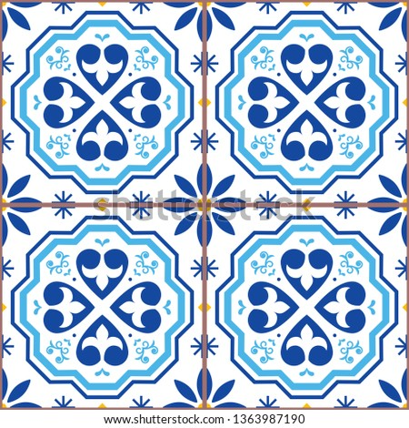 Lisbon geometric vector tiles seamless pattern inspired by Portuguese art, Azulejos style tile backg Stock photo © RedKoala