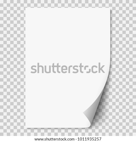 Sheet of paper with curled corner and soft shadow, template for your design. Set. Vector illustratio Stock photo © olehsvetiukha