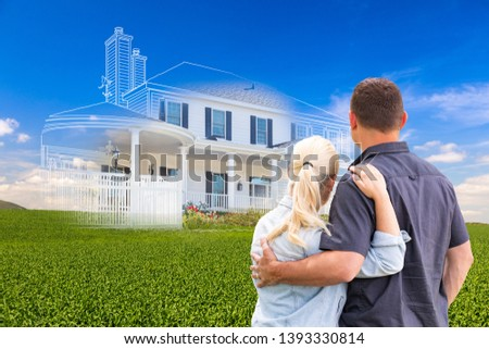 Couple Facing Ghosted House Drawing and Photo Over Green Landsca Stock photo © feverpitch