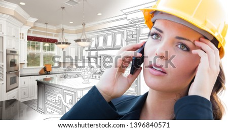 Concerned Female Contractor Using Smart Phone Over Kitchen Drawi Stock photo © feverpitch