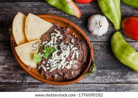 メキシコ料理 ナチョス トルティーヤ チップ 黒 豆 ストックフォト © dash