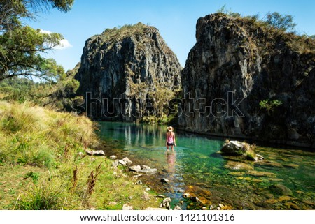 Woman wading in  one of the spectacular gorges of Snowy Mountains Australia Stock photo © lovleah