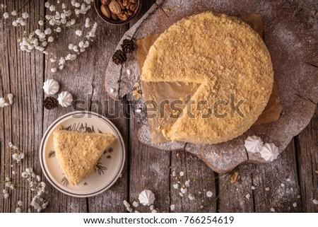 Torta réteg sütemény tejsodó krém étel Stock fotó © Melnyk