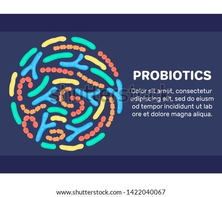 Vector background with probiotics in circular shape. Bifidobacterium, lactobacillus, streptococcus t Stock photo © user_10144511