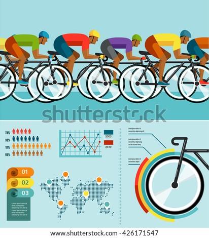 Cycliste équitation vélo vecteur infographie affiche Photo stock © marish
