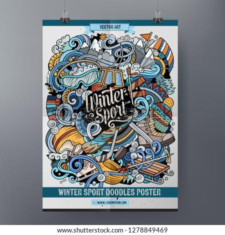 зимние виды спорта плакат дизайна лыжных курорта Сток-фото © balabolka