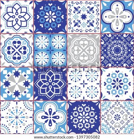 Lisbon tiles Azujelo, Moroccan tiles vector seamless blue design - Portuguese retro navy blue patter Stock photo © RedKoala
