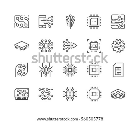 chip processor icon, circuit technology electrical symbol, vector illustration isolated on white bac Stock photo © kyryloff