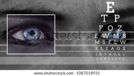 Woman with eye focus box detail and lines and Eye test interface Stock photo © wavebreak_media