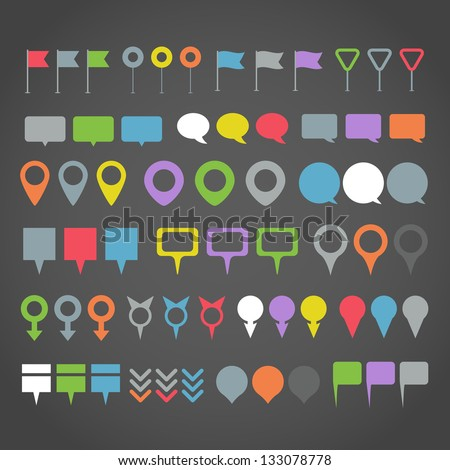 Pin map icon set. Map pointer. Map markers Stock photo © nosik
