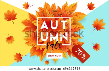 Hello Autumn. Fall season Sale and discounts banner, vector illustration. Autumn, fall leaves, hot s Stock photo © ikopylov