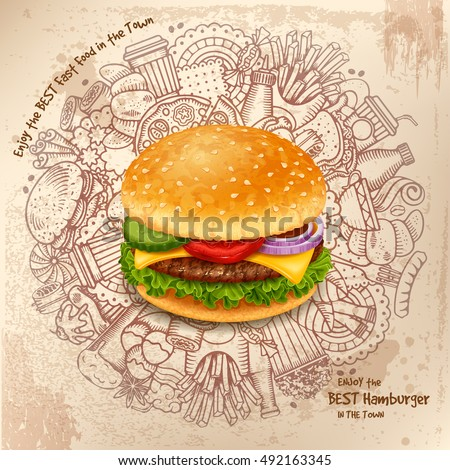 Kézzel rajzolt firkák illusztráció gyorsételek poszter terv Stock fotó © balabolka