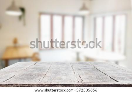 Stockfoto: Afbeelding · gekozen · focus · lege · houten · tafel · coffeeshop