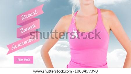 Texto câncer de mama consciência mulher céu nuvens Foto stock © wavebreak_media