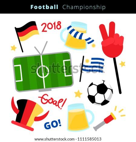 soccer football fans attribute scarf and hat illustration Stock photo © konturvid