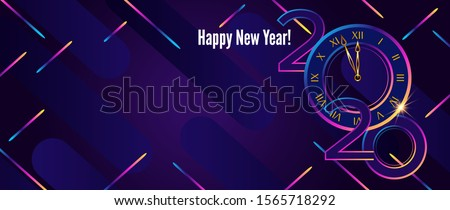 Happy New Year 2020 design. Numbers with stripes and color blocks Stock photo © ussr