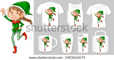 Graphic of christmas elf on different types of product template Stock photo © bluering
