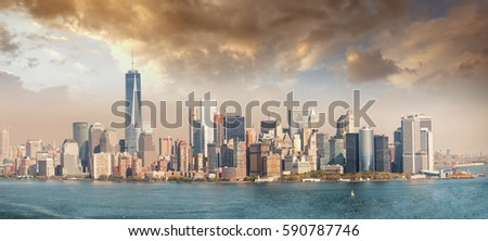 Panoramic view of the skyline of the city seen from the terraces Stock photo © boggy