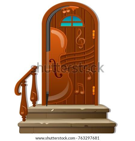 öreg · fából · készült · ajtó · izolált · fehér · épület - stock fotó © lady-luck
